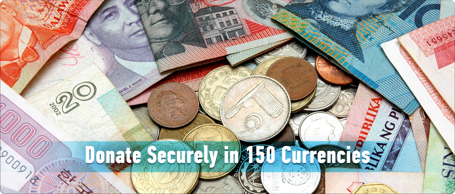 Donate Securely in 150 Currencies